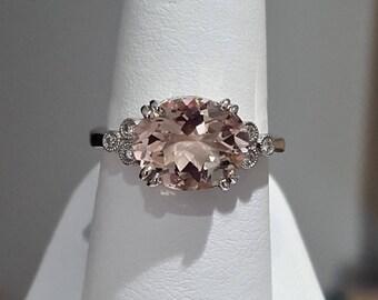 14K White Gold Genuine 3.31ctw Morganite & Diamond Ring *Gorgeous Blush Color*