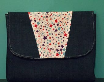 Cover Tablet denim and fabric stars