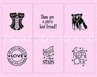 Girls night out cookie stencils set of 6 designs  SL2060