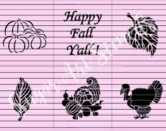 Happy Fall Y'all cookie stencils thanksgiving set of 6  SL20191