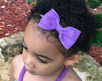Lavender Bow Headband, Lavender Nylon Headband, Lavender Bow Headband, Lavender Headband, Light Purple Headband, Baby Nylon Headband