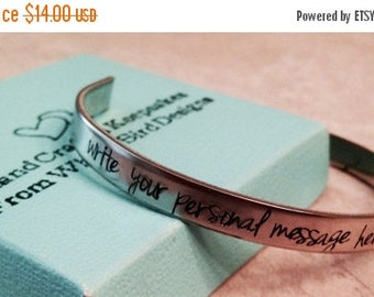 Sale SALE!!  Personalized cuff bracelet hand stamped custom wording mom mother daughter wife military