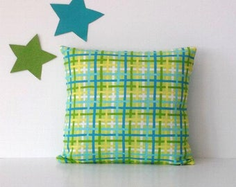 16x16 Green Plaid Pillow Cover, Yellow, Blue and White Decorative Accent Pillow, Sofa Cushion Cover, Pillow Sham, Throw or Toss Pillow