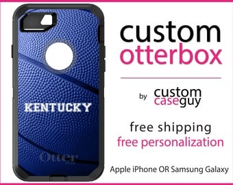 Kentucky OtterBox Defender / Apple iPhone OR Samsung Galaxy / UK Blue Basketball / Custom Personalized Monogrammed / Any Color / Any Font