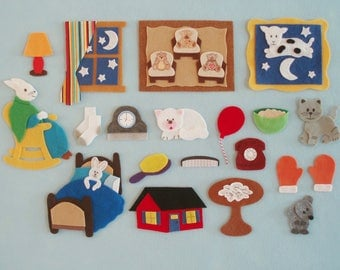 Goodnight Moon Felt Board Story/Flannel Board Story/ Montessori Felt Story/Teaching Resource/Literature Circle/Daycare/Rhyming Story/Colors