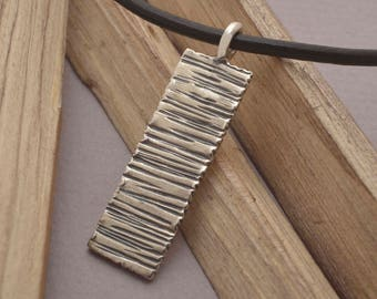 Mens Rock Pendant, Rectangular Sterling Silver Men's Jewelry, Handmade Art Gift for him, Ask for engravement by hand on the back, MA141