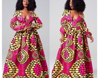 ROSA African print maxi dress, African clothing for women, African dress, Ankara dress, Dashiki women's dress, Angelina, Dashiki dress