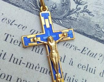 lot 4pcs French Vintage cross  crucifix in solid brass gold blue enamel cross jesus Jesus catholic France  vintage gold blue cross