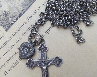 Rare  19th century French antique sterling silver cross  sacred heart of Jesus  gothic reliquary medal solid silver round chain necklace