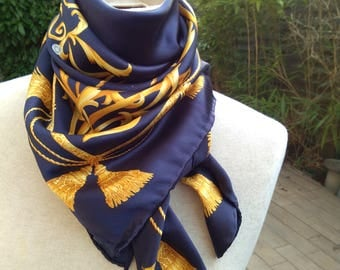 vintage Scarf silk scarf chiffon square hand Rolled royal blue gold yellow gray pearl antique Large scarf impire design