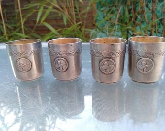 Set of 4pcs French antique 19th century  Silver liquor cup solid bronze cup the shoot sport medal