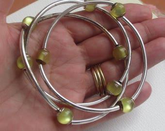Lot Of Yellow Beaded Metal Stretch Bracelets Restring