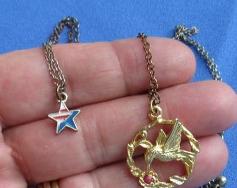 Retro Hummingbird & Star Red White Blue Necklace Lot