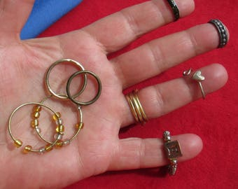 Lot Of Retro Assorted Costume Rings & Metal Rings For Crafts