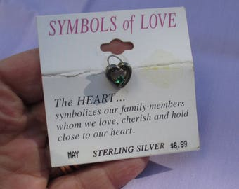 Heart Shaped Sterling Silver Green Rhinestone Pendant Tarnish Discoloration TLC