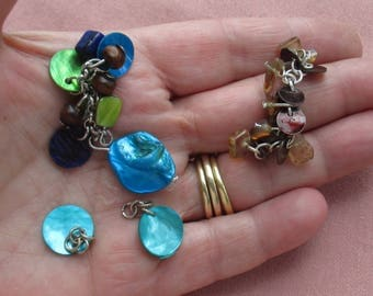 Lot Of Salvaged Dyed Shell & Beaded Dangles