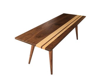 McCobb Mid Century Modern Coffee Table, Solid Walnut With Maple Strip, Modern  Table,