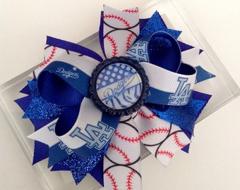 LA DODGERS Hair Bow, Girl Hair Bow, Baby Girl Headband !!