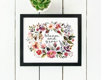 Bloom and Grow | Floral PDF Printable for Nursery and Home Decor | Floral Wreath Print | Instant Download
