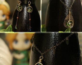 ZELDA Emeraude de Kokiri, boucles d'oreille, bracelet, necklace