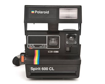 Polaroid Spirit 600 CL Instant Camera - Film Tested Working - Black with Rainbow strip and close up lens