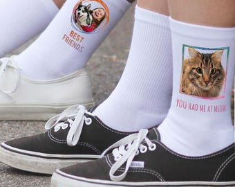 Print Your Pet on a Pair of Crew Socks - Pet Photo Socks - Custom Printed Socks With Your Pet's Photo - Sold by the Pair