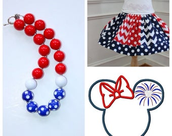 4th of July Minnie outfit Girls Disney  Minnie Mouse skirt set with matching necklace Minnie shirt Disney size 2t 3t 4t 5 6 8 10 12 girls