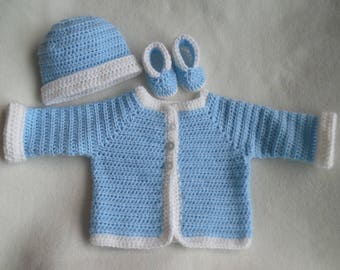 baby boy sweater, crochet baby sweater, boy sweater, hat, booties, baby cardigan, baby crochet sweater boy, newborn 0 to 6 months, baby gift