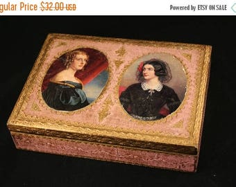 SALE Florentine Portrait Box, Pink Gold Florentine Box, Jewelry Box, Trinket Box, Lady Portrait Florentine Box, Italian Florentine Box
