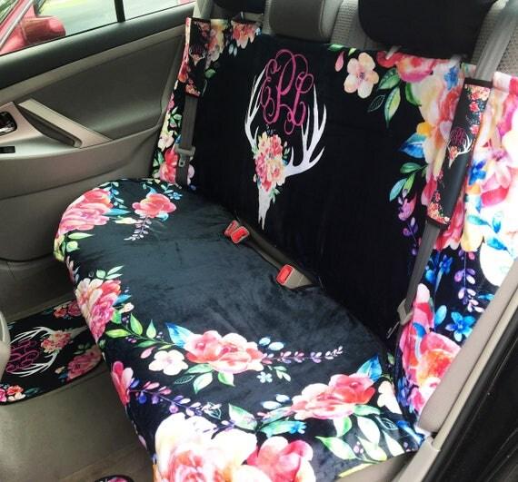 Car Seat Cover Back Seat Car Cover Deer Skull Flowers Antler Seat Cover Back Seat Cover For Car Accessories Seat Covers For Car For Vehicle