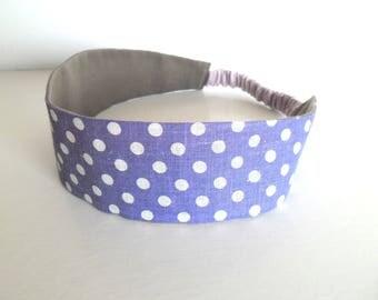 Bandeau cheveux fille à pois violet et blanc
