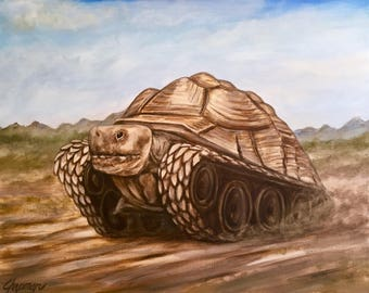 "Tortoise tank. Original 16"" x 20"" on stretched canvas"