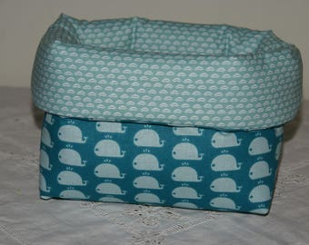 Basket, storage compartment padded blue whales