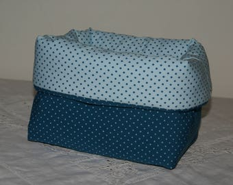 Basket, storage compartment padded while turquoise dots