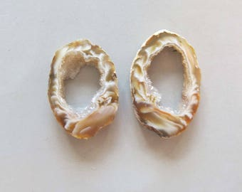 A Pair Natural Druzy Agate Geode Slices C5215