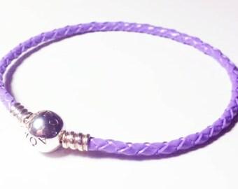Pandora Moments 20cm LAVENDER colour leather braided bracelet