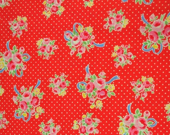 Sugar Flower Fall in Red, Lucien Fabric