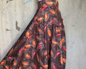 1950s Novelty Print Skirt * Hot Peppers * 50s Full Skirt
