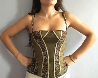RESERVED - do not buy - John Galliano corset laced back Wonder Woman Galliano bustier back lacing boning embroidered corset lurex patchwork