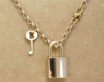 Gold Padlock Necklace, 33x16mm Padlock with 22x12mm Key and Working Lock, Item 1444n