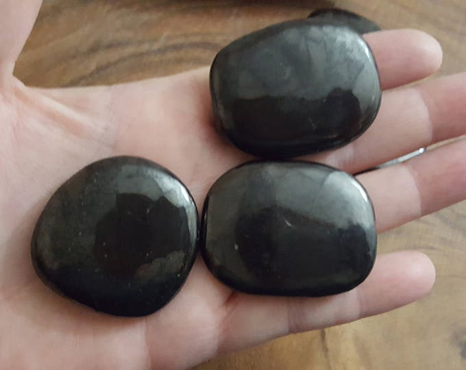 Shungite ~  Palm Stone, Chakra Stone, Worry Stone, Fidget Stone ~ 1 small Reiki infused polished flat crystal, approx 1.5 inches