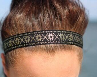 Black and Gold Nonslip Headband Girls - Black Hair Accessories Headbands for Women - Embroidered Ribbon Headband Adult