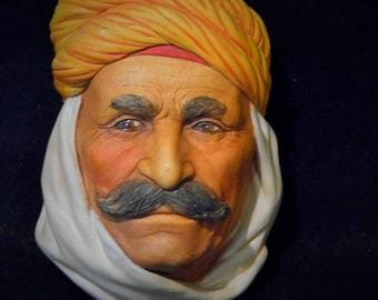 Bossons BRIGAND 1973 Wall Mask Made England F Wright Chalkware ~ Rare Vintage Bossens Legends Brigand Bedouin Berber Chalkware Wall Plaque