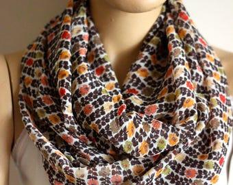 Flowers Printed Silk chiffon infinity scarf. Loop scarf. Circle scarf. Women Scarf, Accessories, Fashion accessories, scarves, silk scarves