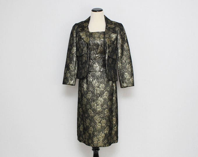 Vintage 1950s Floral Brocade Cocktail Dress and Jacket - Size Small