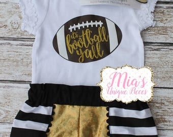 It's Football Yall, Football Black and Gold, Toddler Football Shirt, Toddler Football Shorts