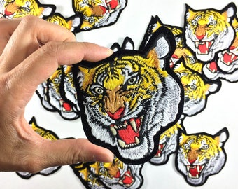 "TIGER Patch / Large Embroidery / Bengal Tiger / Tattoo Embroidery / DIY Denim Jacket / Size 3.25"" x 4"""