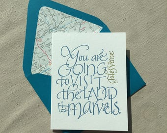 Jules Verne Quote Letterpress Calligraphy