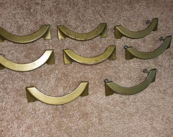 Vintage Set of 8 Brass Drawer Pull Mid Century Modern Retro