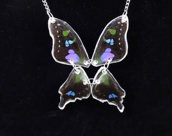 Indonesian Purple Spotted Swallowtail Real Butterfly Necklace